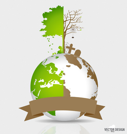 biological waste: Save the world, Tree on a deforested globe and green globe. Vector illustration.