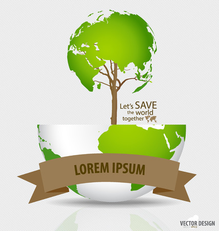 Save the world: Tree shaped world map on a globe. Vector illustration. Vector