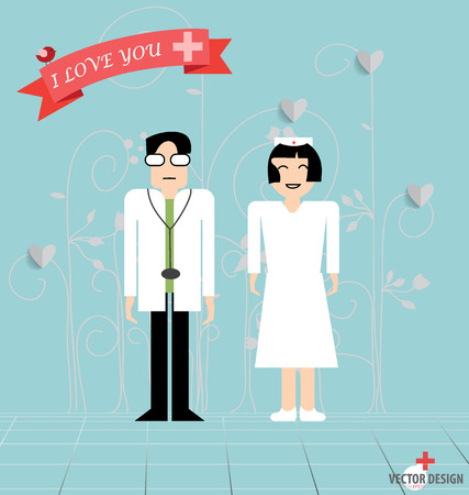 specialities: Doctor cartoon, two doctors man and woman. Vector illustration.