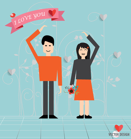 Romantic concept. Couple in love making heart love sign holding hands together. Cute cartoon vector illustration. Vector