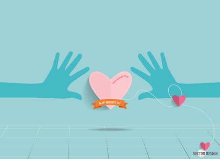 Hands holding heart., Heart paper with ribbon. Vector illustration. Vector