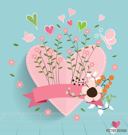 Heart paper with floral bouquets and ribbon, vector illustration.
