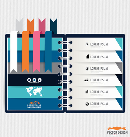 Modern Design template of spiral notebook with ribbons, infographics background. Vector illustration Vector