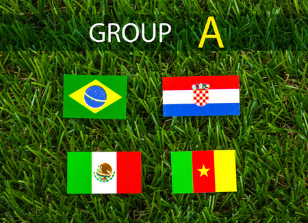Paper cut of flags on grass for Soccer championship 2014 , group A photo