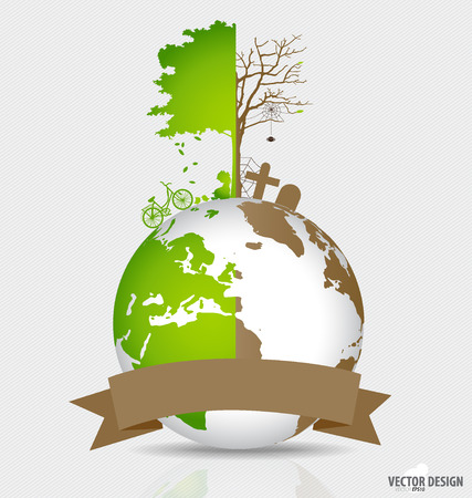 deforested: Save the world, Tree on a deforested globe and green globe.  Stock Photo