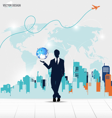 website backgrounds: Businessman showing modern globe with cloud of colorful application. Vector illustration.
