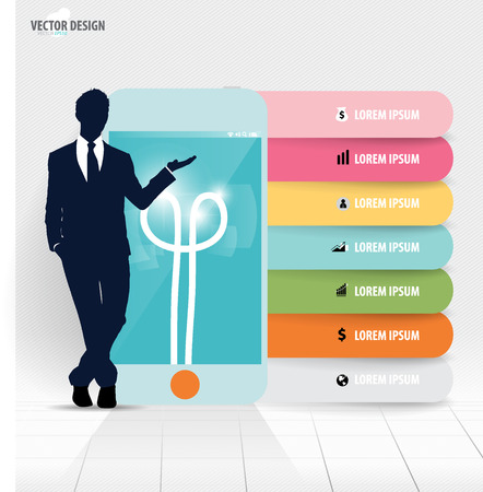 Infographic design template. Businessman showing touchscreen device with colorful infographics paper template, vector illustration. Vector