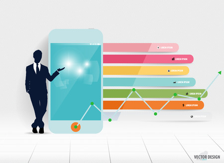 infographics touchscreen: Infographic design template. Businessman showing touchscreen device with colorful infographics paper template, vector illustration.