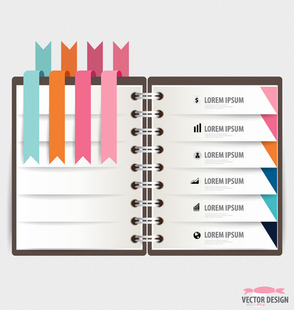 spiral notebook: Modern Design template of spiral notebook with ribbons, infographics