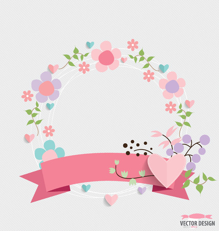Floral bouquets with ribbon and hearts, vector illustration. Vector