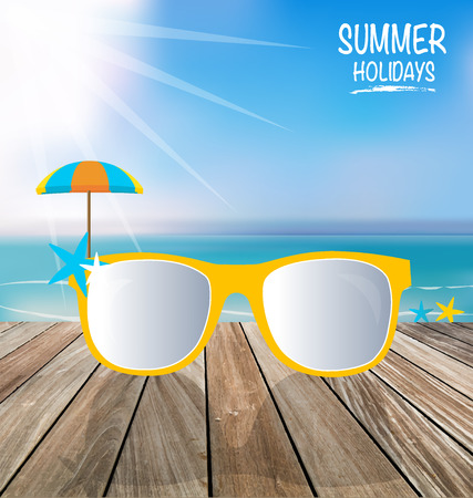 sunglassess: Summer holiday background. Sunglassess on wood terrace.