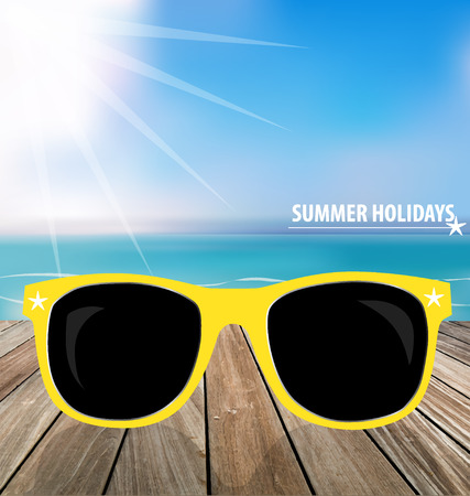 Summer holiday background. Sunglassess on wood terrace. Vector illustration. Stock Vector - 28636604