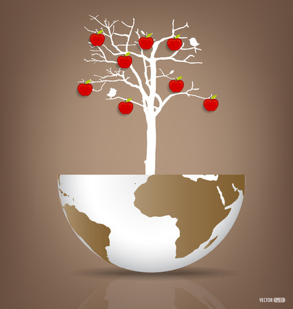deforested: Abstract tree on a deforested globe.