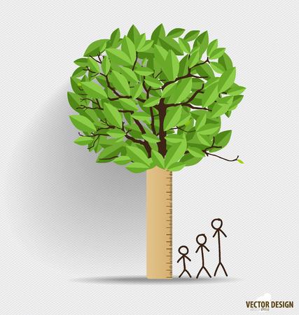 sembrando un arbol: Regla con la hoja. Escala de altura, medir el crecimiento de los niños. Ilustración del vector.