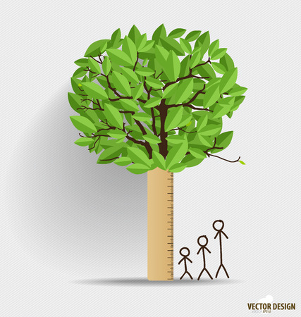 Ruler with leaf. Height scale, measuring childrens growth. Vector illustration. Vector