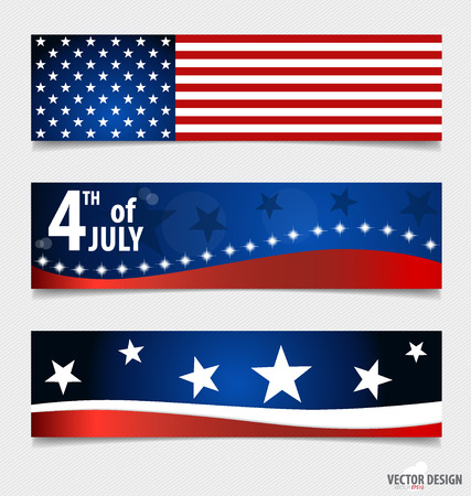 Happy independence day card United States of America. American Flag paper design, vector illustration. Vector