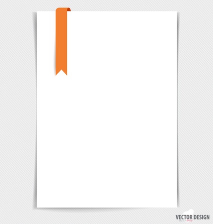 White paper with ribbon, ready for your message. Vector illustration. Vector