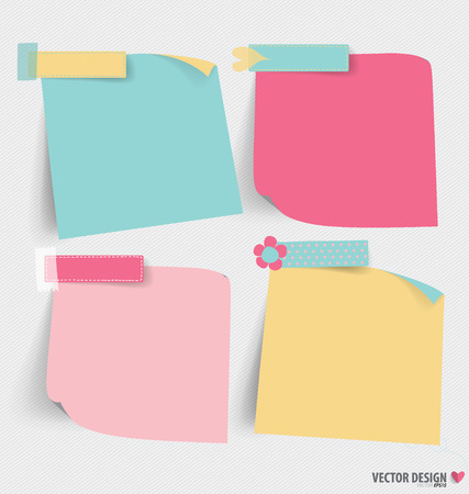 office supply: Cute note papers, ready for your message. Vector illustration. Illustration