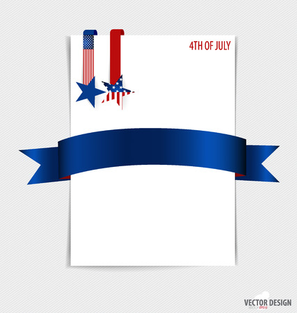 White paper with ribbon. 4th of July, Happy independence day United States of America. Vector illustration. Vector