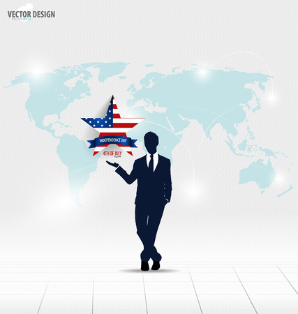 Happy independence day, 4th of July. Businessman showing star. Vector illustration. Vector