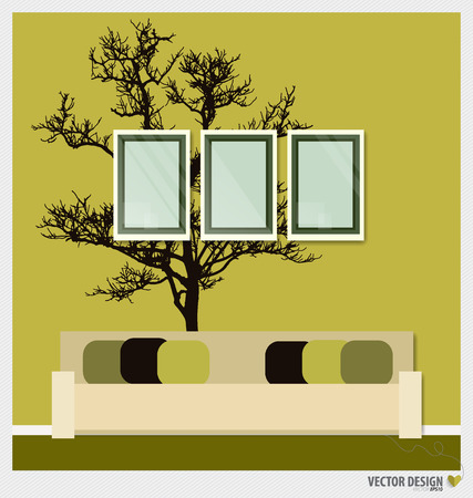 Three empty frames on a wall and Decorative Wall Stickers For Your Houses Interiors. Vector illustration. Vector