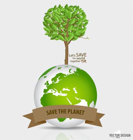 biological waste: Resumen de �rboles en el globo de color verde.