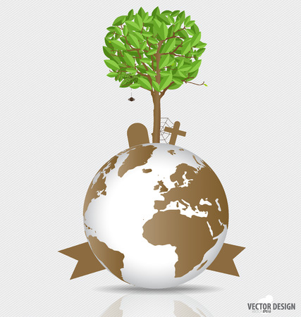 deforested: Save the world, Tree on a deforested globe.