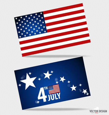 American Flag and note papers, ready for your message. Vector illustration. Vector