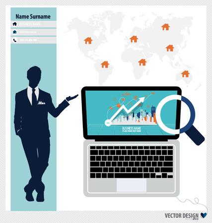 Modern Laptop, Business working elements for web design, business, finance, e-commerce, seo optimizations, mobile applications, social networks. Modern Flat design icon vector illustration. Vector