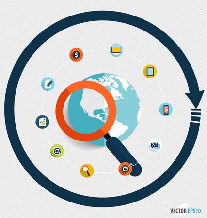 Magnifying glass and globe with application icons, Business working elements for web design, seo optimizations, mobile app, social networks. Modern Flat design icon vector illustration. Vector