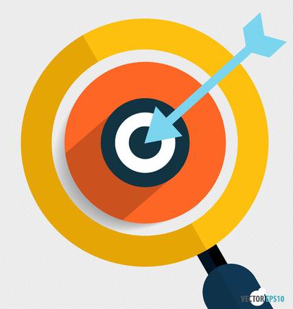 holed: Magnifying glass and dartboard, Business working elements for web design, seo optimizations, mobile app, social networks. Modern Flat design icon vector illustration. Illustration