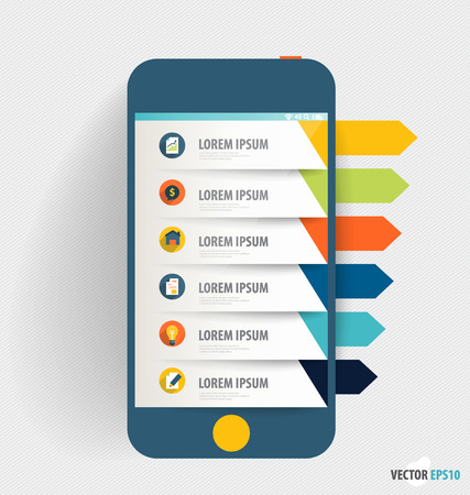 infographics touchscreen: Touchscreen device with infographics paper template. Business working elements for web design, seo optimizations, mobile applications, social networks. Modern Flat design vector illustration concept.