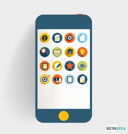 Touchscreen device with application icon, Business working elements for web design, seo optimizations, mobile applications, social networks. Modern Flat design vector illustration concept. Illustration