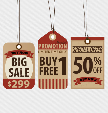 Price tag, sale coupon, voucher. Vintage Style template Design vector illustration. Stock Vector - 29315769