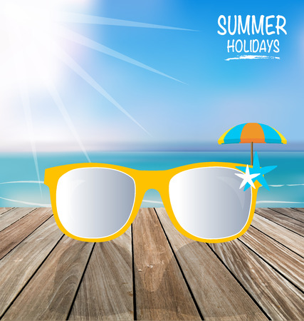 sunglassess: Summer holiday background. Sunglassess on wood terrace. Vector illustration.
