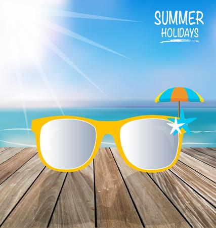 sunglassess: Summer holiday background. Sunglassess on wood terrace. Vector illustration.