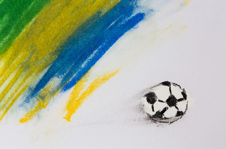 Painting of Brazil flag and soccer ball photo
