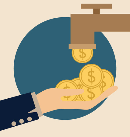 bribe: Money on hand. Modern Flat design vector illustration concept.