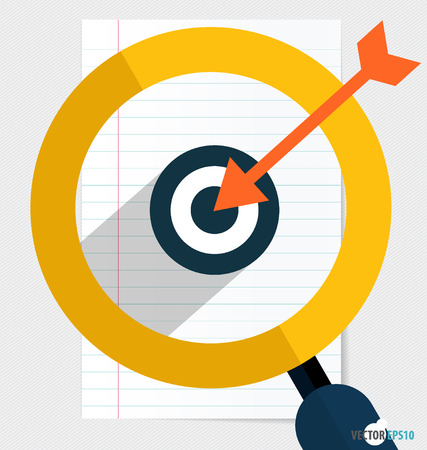 holed: Magnifying glass and dartboard on paper. Vector illustration.