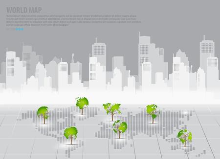 �conomie verte: Concept d'�conomie verte: carte en forme d'arbre du monde avec le fond de construction. Vector illustration. Illustration