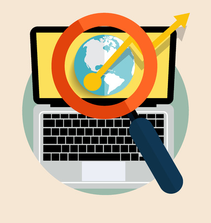 Laptop with magnifying glass. Vector illustration. Vector