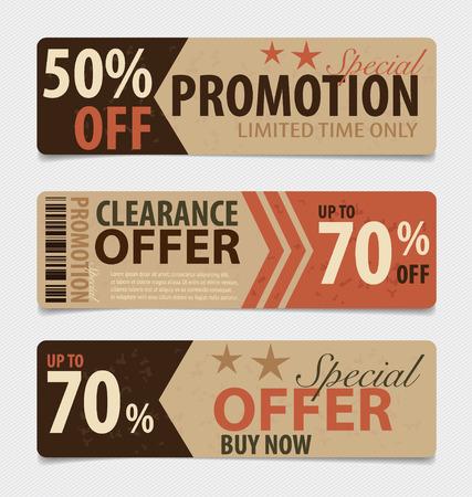 Price tag, sale coupon, voucher. Vintage Style template Design vector illustration. Ilustração
