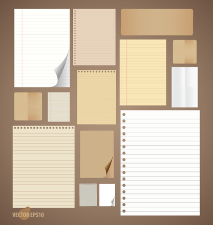 Collection of various vintage paper designs (paper sheets, lined paper and note paper). Vector illustration. Vector