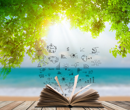 Open book on wood floor with green grass and leaf over beach sea photo