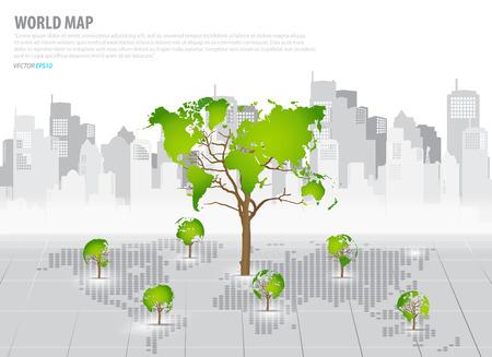 �conomie verte: Concept d'�conomie verte: carte en forme d'arbre du monde avec le fond de construction. Illustration