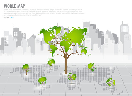 green economy: Green economy concept : Tree shaped world map with building background.  Illustration