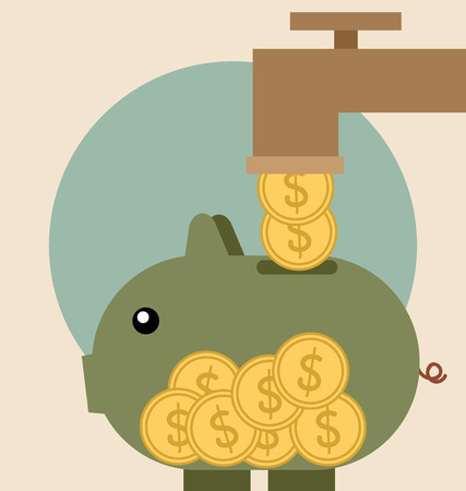 Piggy bank with coin over it. Modern Flat design vector illustration concept. Vector