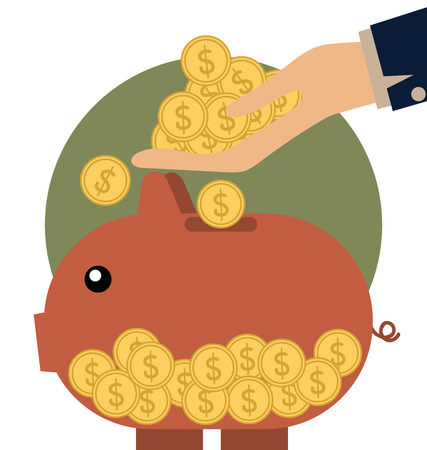Money coins on hand and Piggy bank with coin over it. Modern Flat design vector illustration concept. Vector