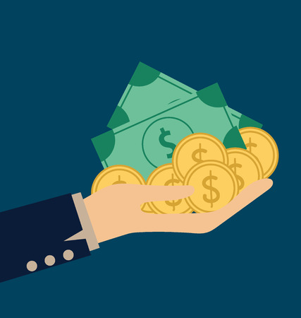 charity person: Money on hand. Modern Flat design vector illustration concept.