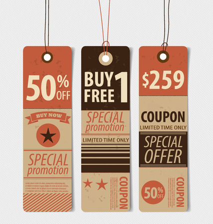 Price tag, sale coupon, voucher. Vintage Style template Design vector illustration. Vector